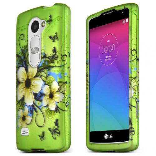 LG Leon (T-Mobile, MetroPCS)  Case, Green Hawaiian Flowers Slim Grip Rubberized Matte Snap-on Hard Polycarbonate Plastic Protective Case