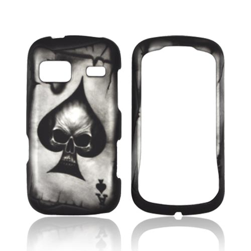 LG Rumor Reflex Rubberized Hard Case - Ace Skull on Black
