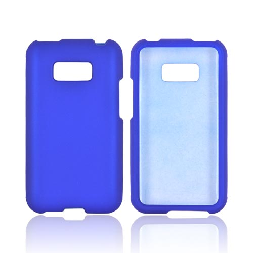 LG Optimus Elite Rubberized Hard Case - Blue
