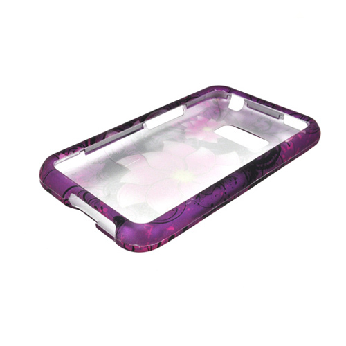 LG Optimus Elite Rubberized Hard Case - Hot Pink Divine Flower on Purple