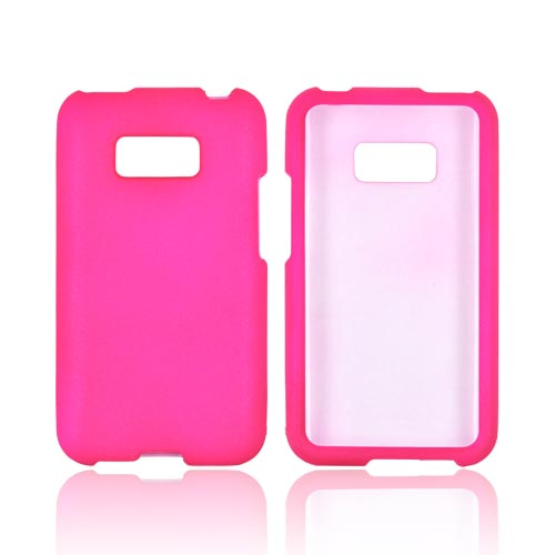 LG Optimus Elite Rubberized Hard Case - Hot Pink