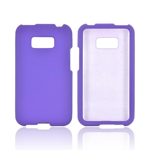 LG Optimus Elite Rubberized Hard Case - Purple