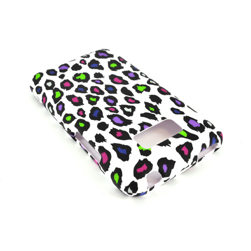 LG Optimus Elite Rubberized Hard Case - Rainbow Leopard on White