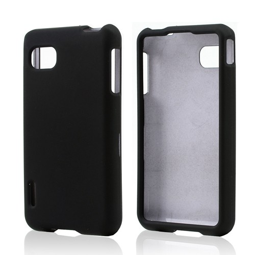 Black Rubberized Hard Case for LG Optimus F3 - Sprint/ Virgin Mobile