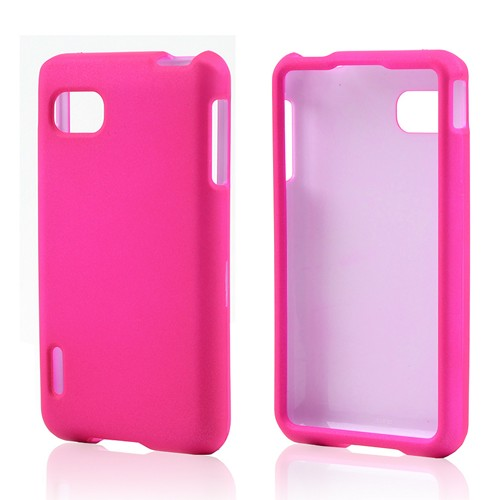 Hot Pink Rubberized Hard Case for LG Optimus F3 - Sprint/ Virgin Mobile
