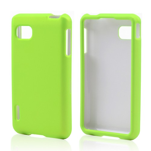 Neon Green Rubberized Hard Case for LG Optimus F3 - Sprint/ Virgin Mobile