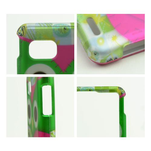 Hot Pink / Green Owl Rubberized Hard Case for LG Optimus F3 - Sprint/ Virgin Mobile