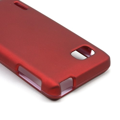 Red Rubberized Hard Case for LG Optimus F3 - Sprint/ Virgin Mobile