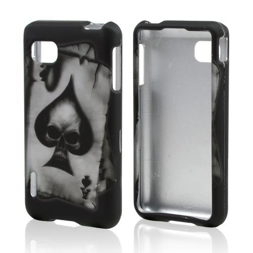 Ace Spade Skull Rubberized Hard Case for LG Optimus F3 - Sprint/ Virgin Mobile