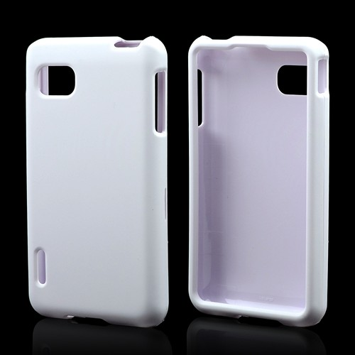 White Rubberized Hard Case for LG Optimus F3 - Sprint/ Virgin Mobile