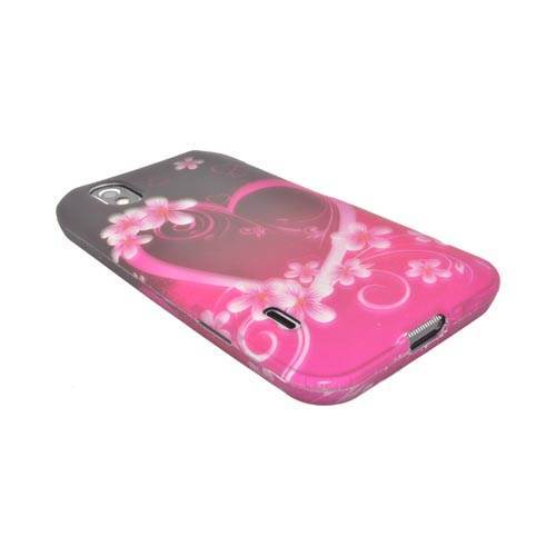 LG Marquee LS855 Rubberized Hard Case - Hot Pink/ Purple Flowers & Hearts