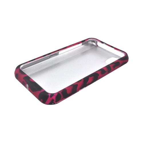 LG Marquee LS855 Rubberized Hard Case - Hot Pink/ Black Leopard