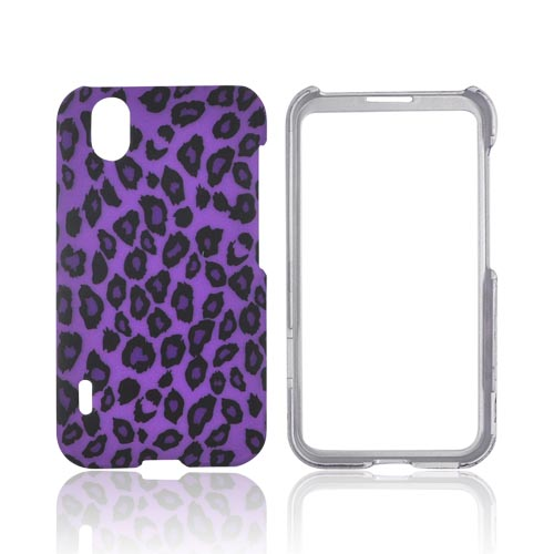 LG Marquee LS855 Rubberized Hard Case - Purple/ Black Leopard