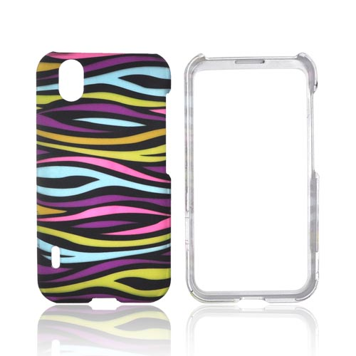 LG Marquee LS855 Rubberized Hard Case - Rainbow Zebra on Black