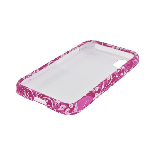 LG Marquee LS855 Rubberized Hard Case - White Leaves/ Flowers on Magenta