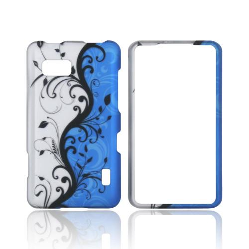 LG Mach Rubberized Hard Case - Black Vines on Silver/ Blue