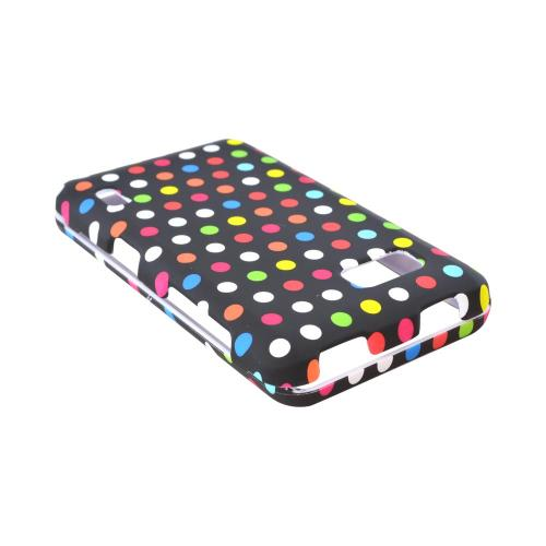 LG Mach Rubberized Hard Case - Rainbow Polka Dots on Black