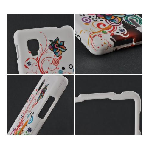 Autumn Floral Burst on White Rubberized Hard Case for LG Optimus G (Sprint)