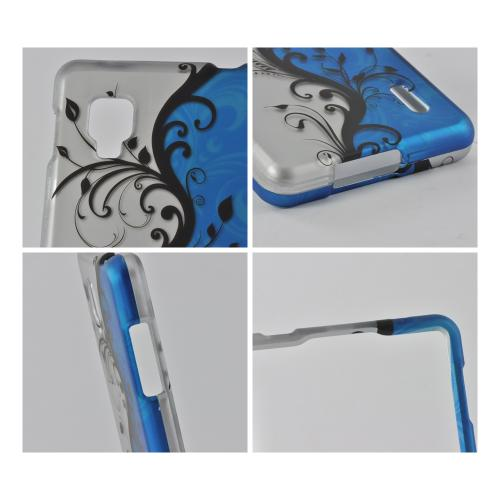 Black Vines on Silver/ Blue Rubberized Hard Case for LG Optimus G (Sprint)