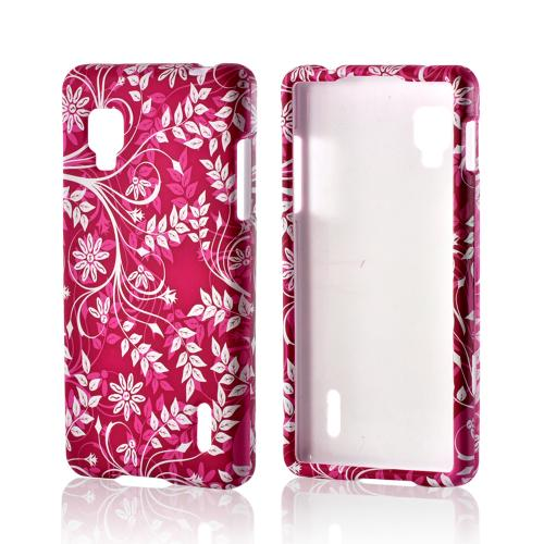 White Flowers & Vines on Purple Rubberized Hard Case for LG Optimus G (Sprint)