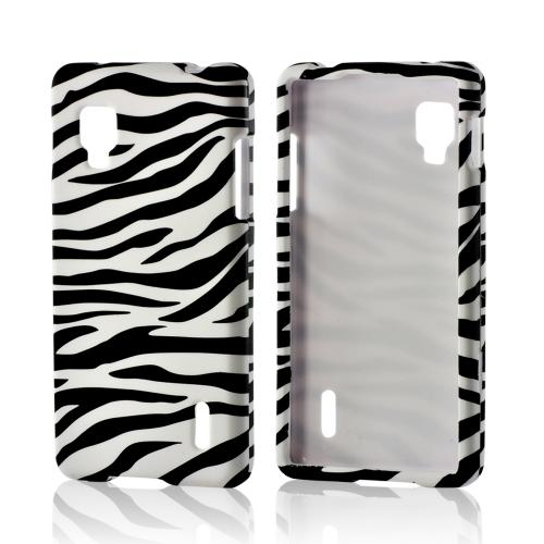 White/ Black Zebra Rubberized Hard Case for LG Optimus G (Sprint)