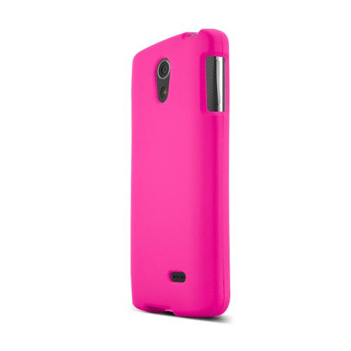 Hot Pink LG Lucid 3 Matte Rubberized Hard Case Cover; Perfect fit as Best Coolest Design Plastic Cases