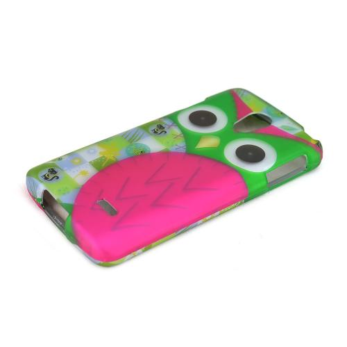 Hot Pink/ Green Owl LG Lucid 3 Matte Rubberized Hard Case Cover; Perfect fit as Best Coolest Design Plastic Cases