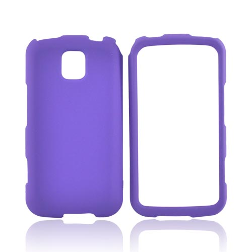 LG Optimus M MS690 Rubberized Hard Case - Purple