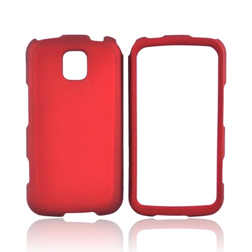 LG Optimus M MS690 Rubberized Hard Case - Red
