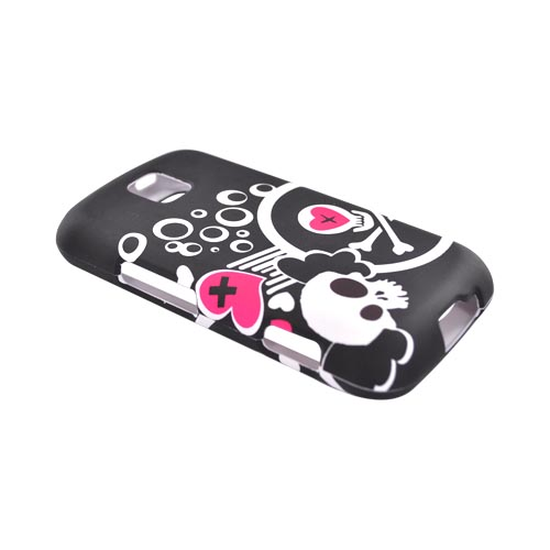 LG Optimus M MS690 Rubberized Hard Case - White Skull And Pink Heart On Black