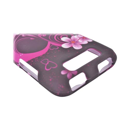 LG Viper 4G LTE/ LG Connect 4G Rubberized Hard Case - Hot Pink Flowers/ Hearts