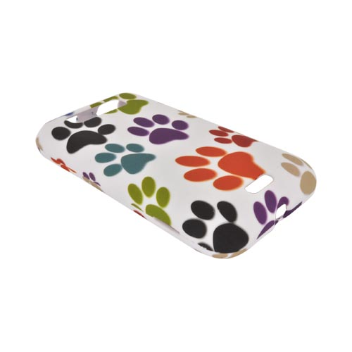 LG Viper 4G LTE/ LG Connect 4G Rubberized Hard Case - Multi Color Paw Prints on White