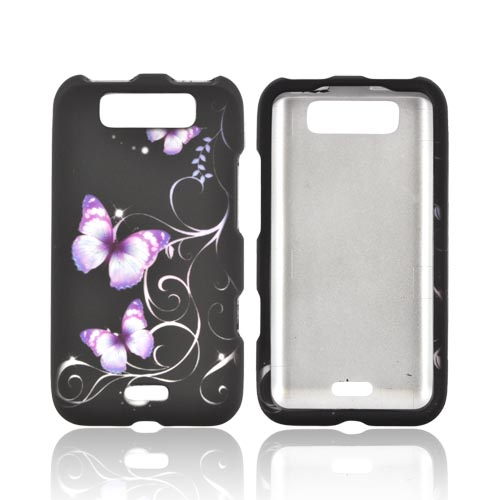 LG Viper 4G LTE/ LG Connect 4G Rubberized Hard Case - Purple Butterflies on Black
