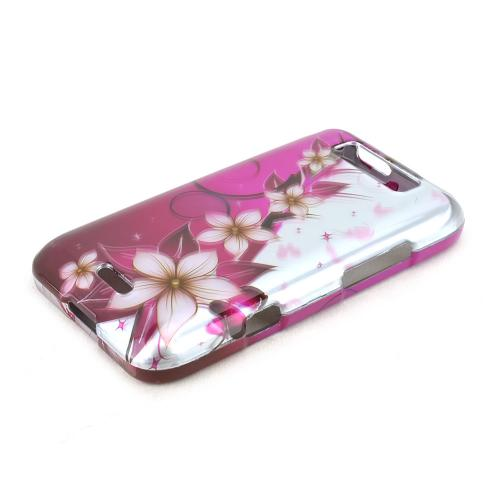 LG Viper 4G LTE/ LG Connect 4G Rubberized Hard Case - Purple Flowers on Purple/ Silver