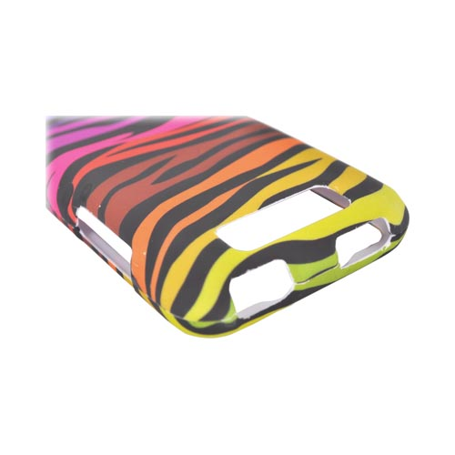 LG Viper 4G LTE/ LG Connect 4G Rubberized Hard Case - Rainbow Zebra on Black