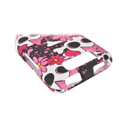 LG Viper 4G LTE/ LG Connect 4G Rubberized Hard Case - White Skulls w/ Pink Bows & Flowers on Black
