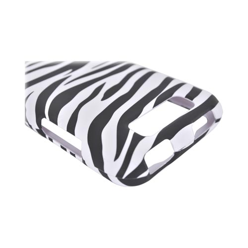 LG Viper 4G LTE/ LG Connect 4G Rubberized Hard Case - Black/ White Zebra
