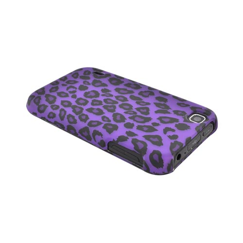 T-Mobile Mytouch Rubberized Hard Case - Purple/ Black Leopard
