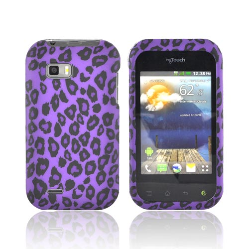 T-Mobile MyTouch Q Rubberized Hard Case - Purple/ Black Leopard