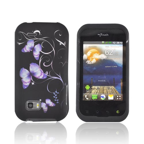 T-Mobile MyTouch Q Rubberized Hard Case - Purple Butterflies on Black