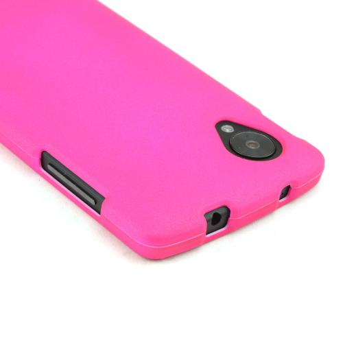 Hot Pink Rubberized Hard Case for LG Google Nexus 5