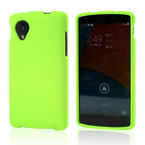 Neon Green Rubberized Hard Case for LG Google Nexus 5