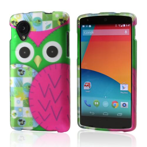 Hot Pink / Green Owl Rubberized Hard Case for LG Google Nexus 5
