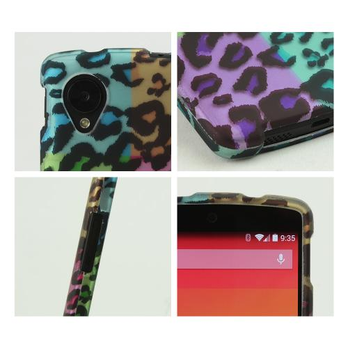Multi-Colored Artsy Leopard Rubberized Hard Case for LG Google Nexus 5