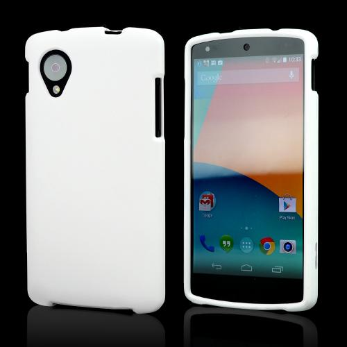 White Rubberized Hard Case for LG Google Nexus 5