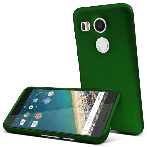 LG Nexus 5X Case,  [Dark Green]  Slim & Protective Rubberized Matte Finish Snap-on Hard Polycarbonate Plastic Case Cover