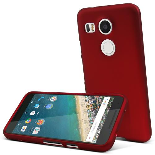 LG Nexus 5X Case,  [Red]  Slim & Protective Rubberized Matte Finish Snap-on Hard Polycarbonate Plastic Case Cover