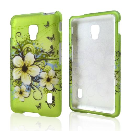 White Hawaiian Flowers on Green Rubberized Hard Case for LG Optimus F6
