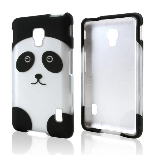 Silver/ Black Panda Bear Rubberized Hard Case for LG Optimus F6