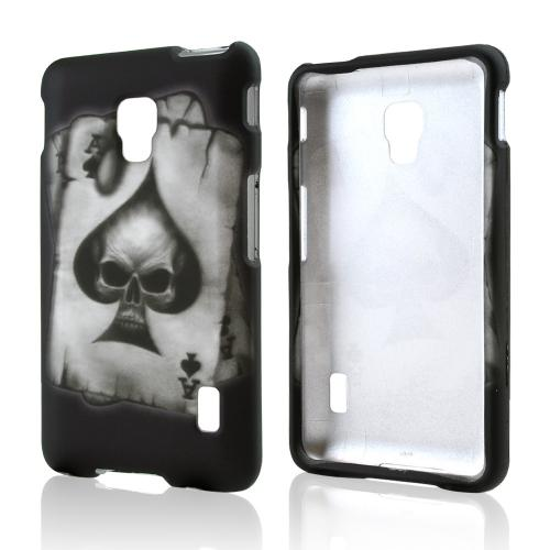 Ace Spade Skull on Black Rubberized Hard Case for LG Optimus F6